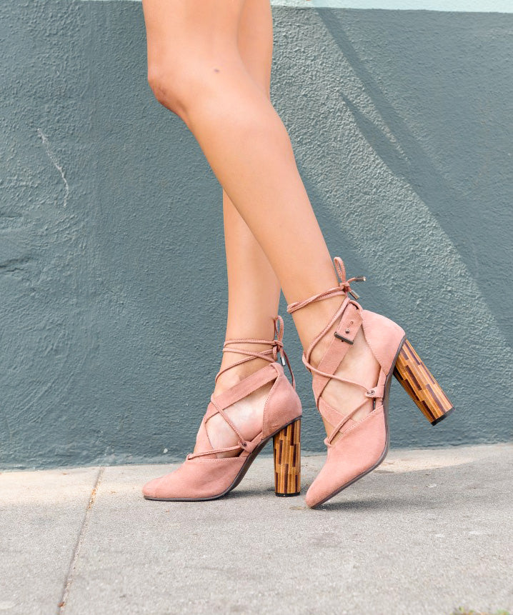 Pandora blush Retro Wrap-Tie Cylindrical Heel