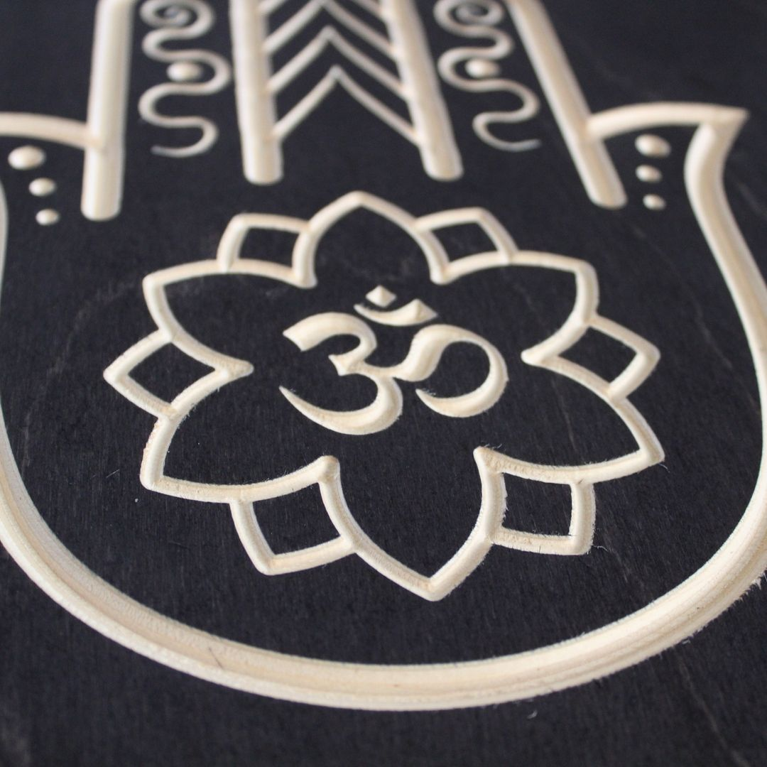 Hamsa Hand Om Symbol Wood Sign Closeup