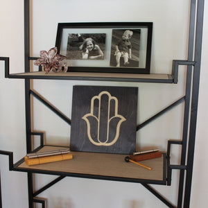 Hamsa Hand Wood Sign on Shelf
