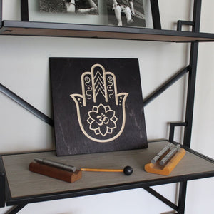Hamsa Hand Om Symbol Wood Sign on Shelf
