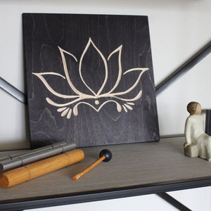 Lotus Flower Wood Signs home decor black