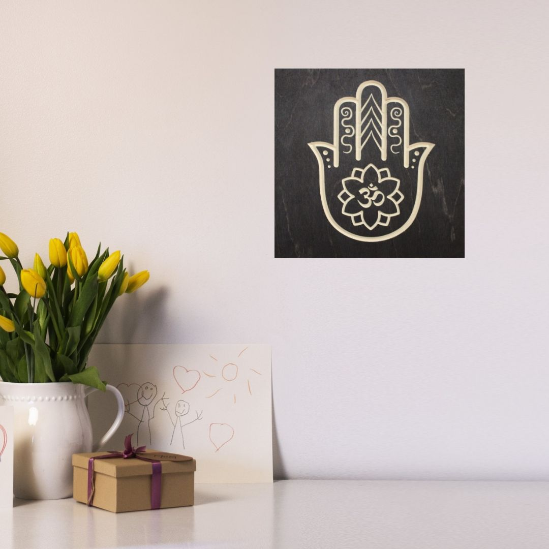 Hamsa Hand Om Symbol Wood Sign | Zen Decor