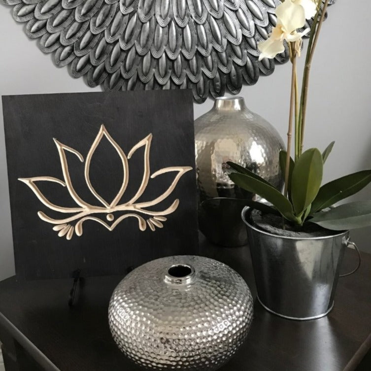 Lotus Flower Wood Signs black