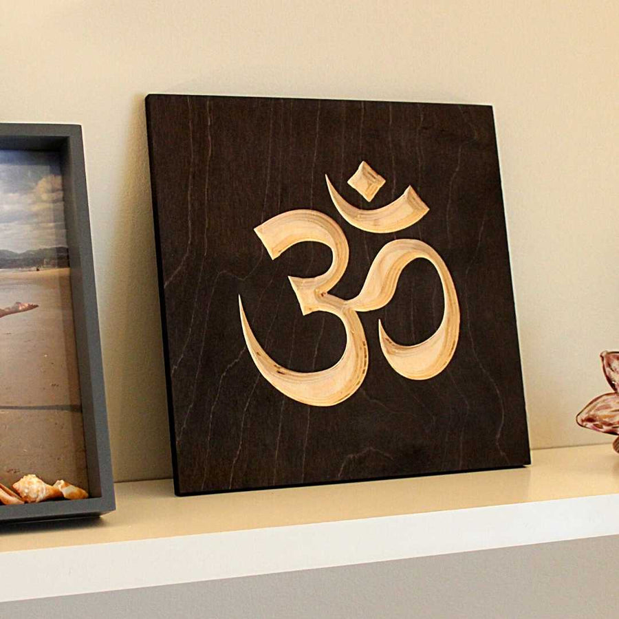 Om Symbol Wood Sign Pure Black