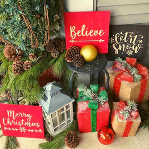 Believe Christmas Decoration Wood Sign Scarlet Red