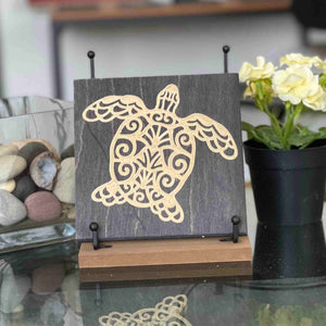 Boho-Sea-Turtle-Wood-Sign Deep Purple