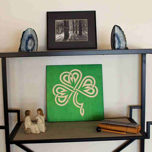 Celtic-Shamrock-Wood-Sign-Emerald-Green-on-bookshelf