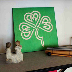 Celtic-Shamrock-Wood-Sign-Emerald-Green on shelf