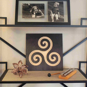 Celtic-Triskele-Pure-Black on bookshelf