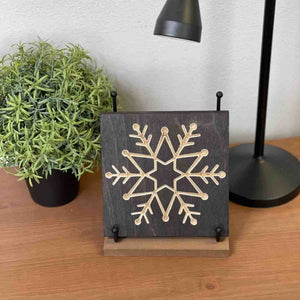Delicate Snowflake Wood Art Desk Decor on desk