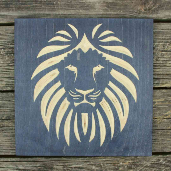 Lion Head Carved Wood Sign Black