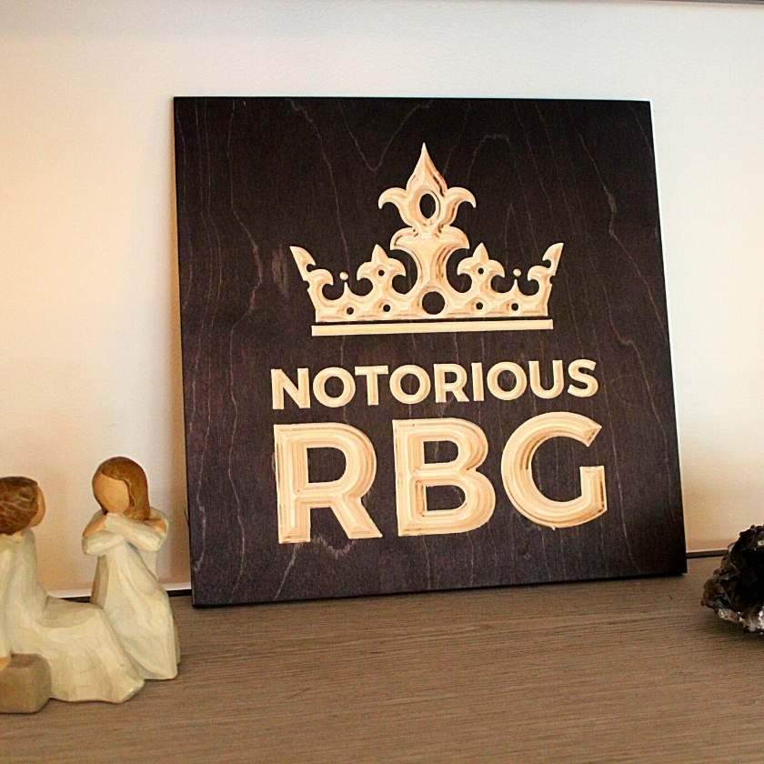 Notorious RBG Wood Sign Pure Black