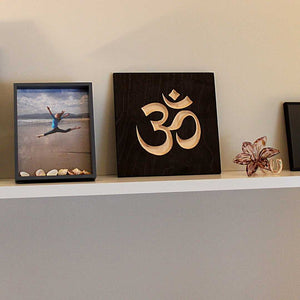 Om Symbol Wood Sign Pure Black on shelf