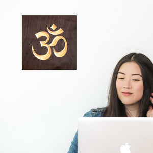 Om Symbol Wood Sign Pure Black wall_hanging