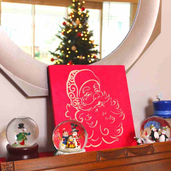 Santa Claus Christmas Decor Wooden Christmas Signs| Scarlet Red