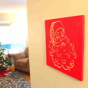 Santa Claus Christmas Decoration Wood Wall Hanging | Scarlet Red