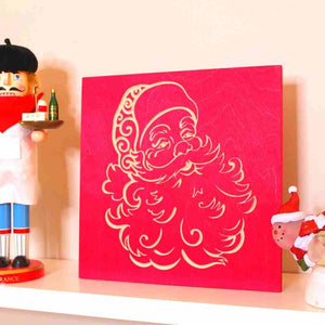Santa Claus Christmas Decor on Shelf Closeup | Scarlet Red