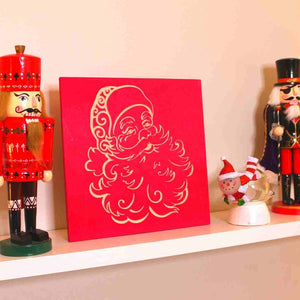 Santa Claus Wood Christmas Decoration On Shelf | Scarlet Red