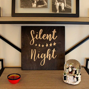 Silent Night Wood Sign Pure Black Christmas Decoration on bookshelf