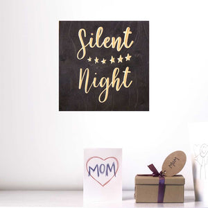 Silent Night Wood Sign Pure Black Christmas Decoration Hanging