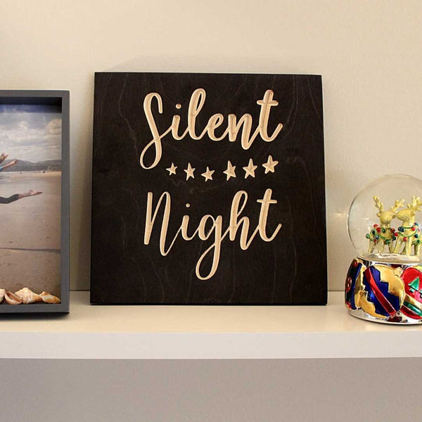 Silent Night Wood Sign Pure Black Christmas Decoration on shelf