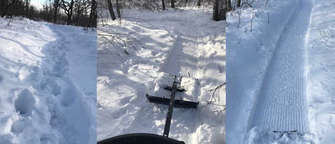Before and After using a Snowdog Machine with Fatbike Groomer