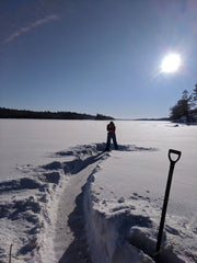 "18"" of snow proved difficult for a quad, Lake of the woods, Ontario, Canada"