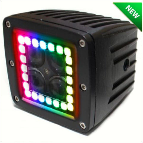 3 Inch ColorADAPT Series RGB-Halo LED Cube Light Kit By Race Sport Lighting |Sold in Pairs| - RZR LIGHTS