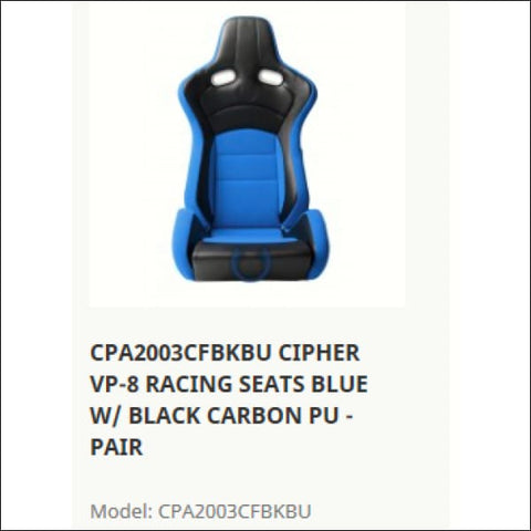 CIPHER CPA2003CFBKBU VP-8 RACING SEATS BLUE W/ BLACK CARBON PU - PAIR - interior