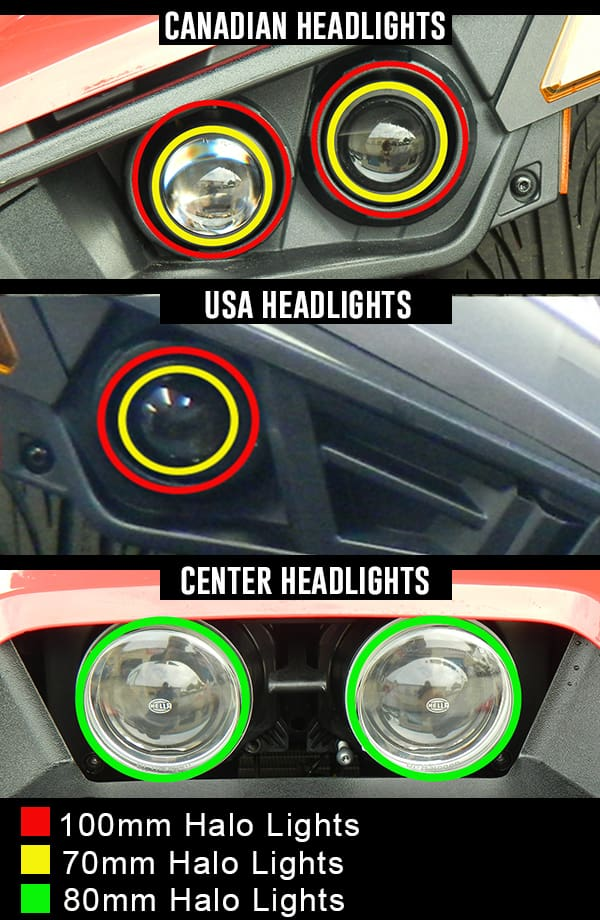 Bright White LED Halo Rings Lights for the Polaris Slingshot