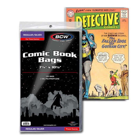 Silver Comic Bags (Thick) - 100 / pk