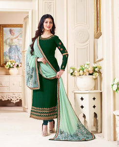 Luxurious Green  Color Georgette Embroidery Suit With Heavy Work Dupatta
