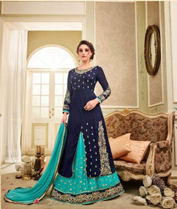 Charming Kaia !!! Navy Blue With Torques  Color Georgette Embroidery party wear long Suit