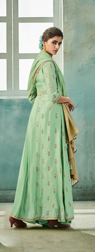 Awesome Suit !!! mint with gold embroidered  Dupatta
