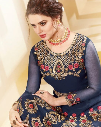 Great AADHVINNA !!! Navy Blue Heavy work Designer Embroidered  Georgette Anarkali Suit