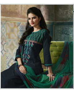 DARK WITH LIGHT GREEN COTTON PRINTED LEHENGA STYLE KURTI