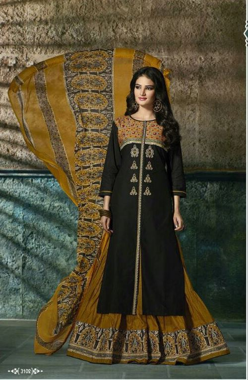 BLACK WITH MUSTARD COTTON PRINTED LEHENGA STYLE KURTI