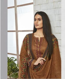 Sweet Gulzaar !!! Brown cotton satin Print with embroidery  suits