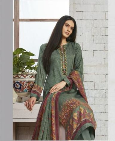Sweet Gulzaar !!! Basil green cotton satin Print with embroidery  suits