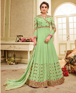 Charming Kaia !!! Parrot Green  Color Georgette Embroidery party wear long Suit