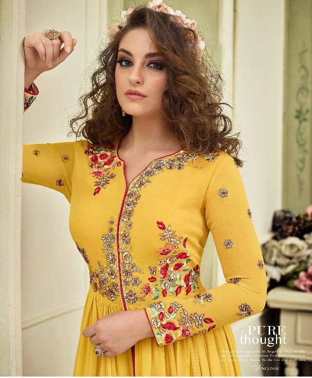 Wonderful Kyra !!! Amazing Yellow  Color Georgette Embroidery party wear long Suit