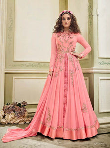 Wonderful Kyra !!! Rose Pink  Color Georgette Embroidery party wear long Suit