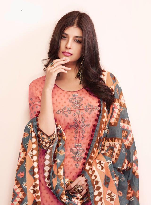 Beautiful Shahnaz !!! Peach with Grey color Cambric cotton print & Embroidery Suit