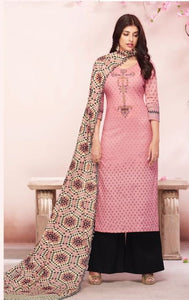 Beautiful Shahnaz !!! Baby Pink With Black color Cambric cotton print & Embroidery Suit