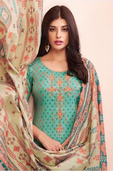 Beautiful Shahnaz !!! Torques with Light Orange color Cambric cotton print & Embroidery Suit