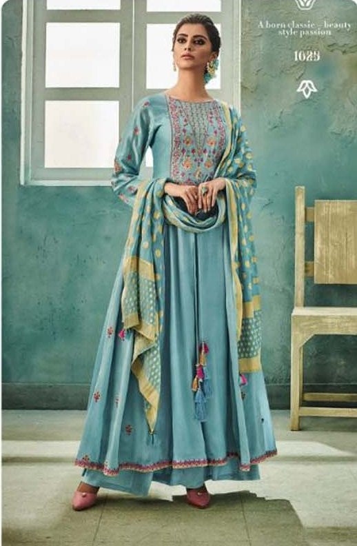 AWESOME SUIT!!! NAZRANA SILK ANARKALI WITH HAND WORK