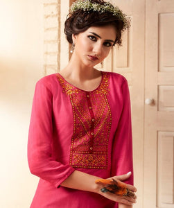 Cute Lily !!! Pink  Color  embroidered   Rayon  Kurti