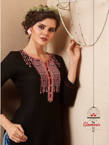 Cute Lily !!! Pink embroidered in Black  Color  Rayon  Kurti