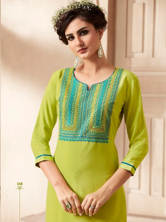 Cute Lily !!! Parrot Green Color  embroidered   Rayon  Kurti