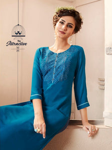 Cute Lily !!! Blue  Color  embroidered   Rayon  Kurti